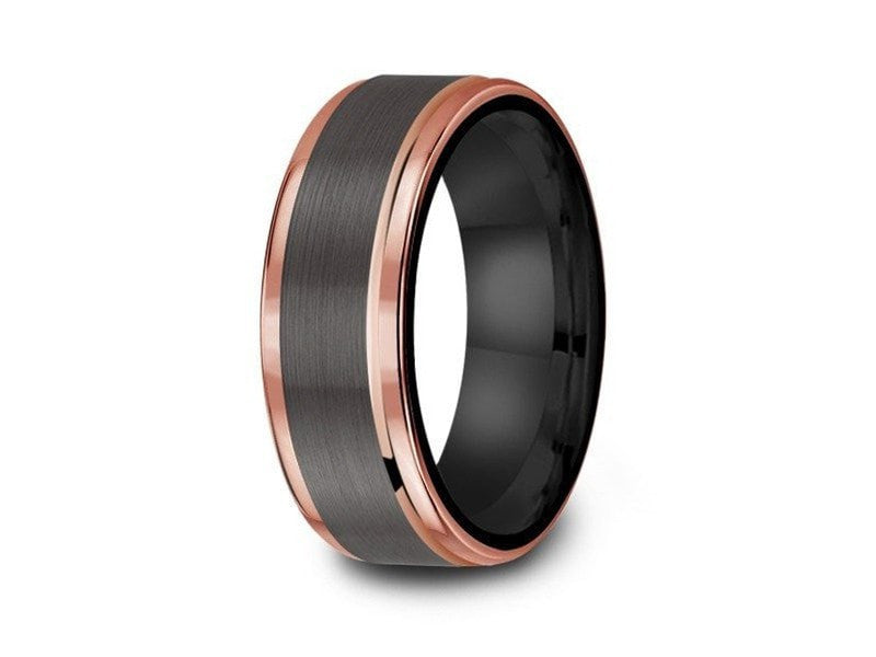 8MM BRUSHED GRAY TUNGSTEN WEDDING BAND ROSE GOLD EDGES AND BLACK INTERIOR - Vantani Wedding Bands