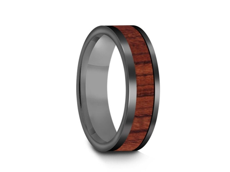 6MM HAWAIIAN KOA WOOD TUNGSTEN WEDDING BAND FLAT AND GRAY INTERIOR - Vantani Wedding Bands