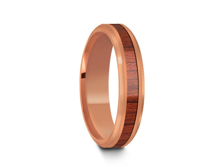 4MM HAWAIIAN KOA WOOD TUNGSTEN WEDDING BAND BEVELED AND ROSE GOLD INTERIOR - Vantani Wedding Bands