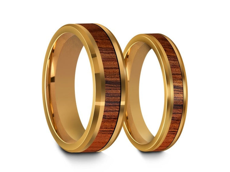 4MM/6MM HAWAIIAN KOA WOOD TUNGSTEN WEDDING BAND SET BEVELED AND YELLOW GOLD PLATED INTERIOR - Vantani Wedding Bands