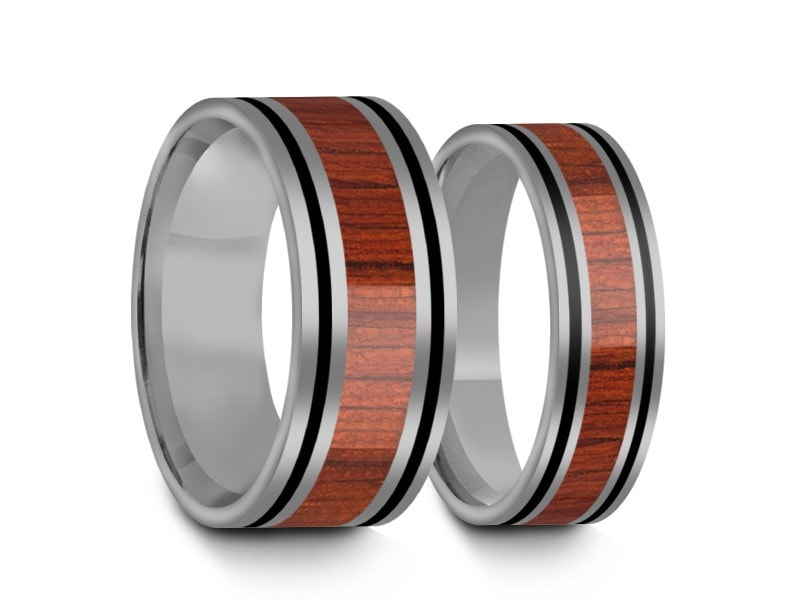 6MM/8MM HAWAIIAN KOA WOOD TUNGSTEN WEDDING BAND SET FLAT AND GRAY INTERIOR - Vantani Wedding Bands