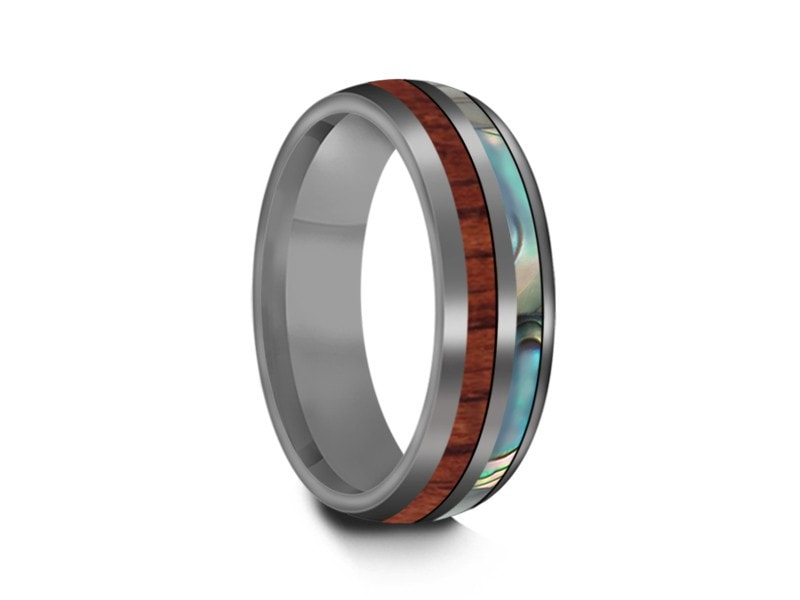 HAWAIIAN Koa Wood Abalone Inlay Tungsten Ring