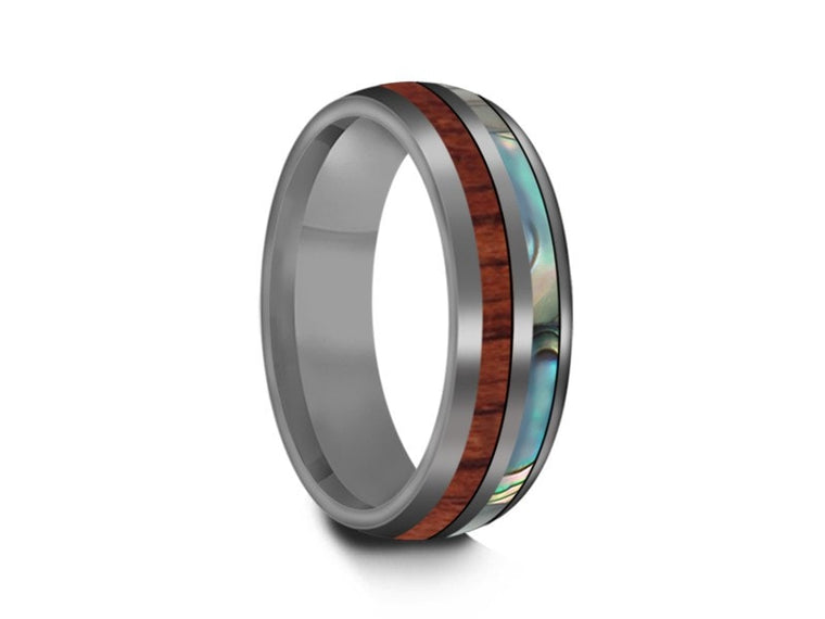 6MM HAWAIIAN KOA WOOD & ABALONE TUNGSTEN WEDDING BAND DOME AND GRAY INTERIOR - Vantani Wedding Bands