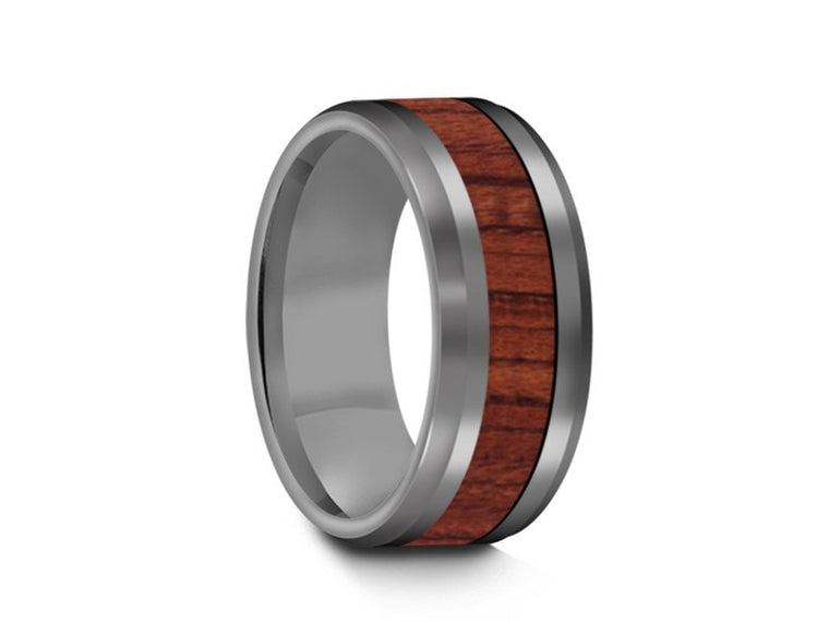 8MM HAWAIIAN KOA WOOD TUNGSTEN WEDDING BAND BEVELED AND GRAY INTERIOR - Vantani Wedding Bands