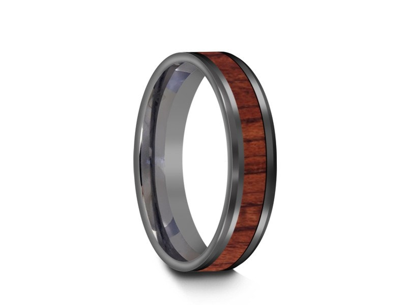 5MM HAWAIIAN KOA WOOD TUNGSTEN WEDDING BAND BEVELED AND GRAY INTERIOR - Vantani Wedding Bands