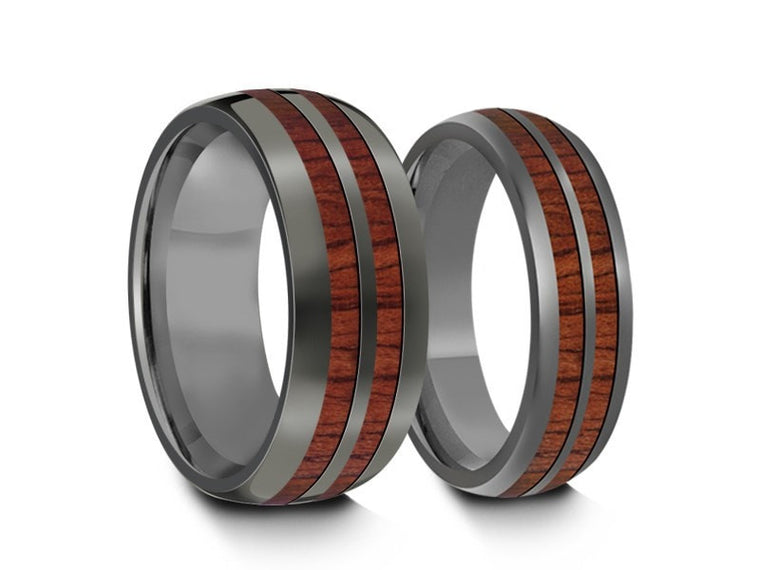 Tungsten Matching Wedding Band Set - Hawaiian Koa Wood Matching Bands - His/Hers - Engagement Ring Set - Two Tone Bands - Dome Shaped - Comfort Fit  6mm/8mm - Vantani Wedding Bands