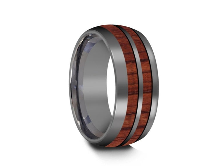 HAWAIIAN Double Koa Wood Row Inlay Tungsten Carbide Ring - Koa Wood Wedding Band -  Engagement Band - Dome Shaped - Comfort Fit  8mm - Vantani Wedding Bands