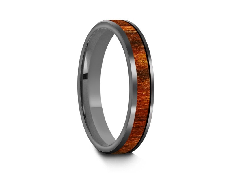 4MM HAWAIIAN KOA WOOD TUNGSTEN WEDDING BAND FLAT AND GRAY INTERIOR - Vantani Wedding Bands