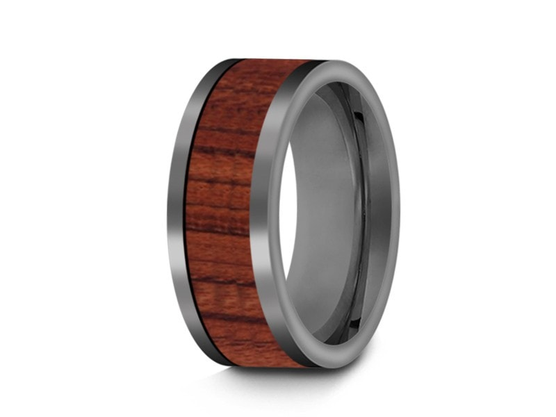 HAWAIIAN Koa Wood Inlay Tungsten Carbide Ring - Koa Wood Wedding Band - Engagemnet Ring - Flat Shaped - Comfort Fit  8mm - Vantani Wedding Bands