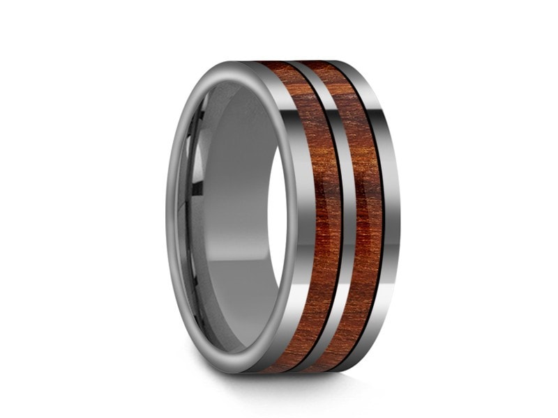8MM HAWAIIAN KOA WOOD TUNGSTEN WEDDING BAND FLAT AND GRAY INTERIOR - Vantani Wedding Bands