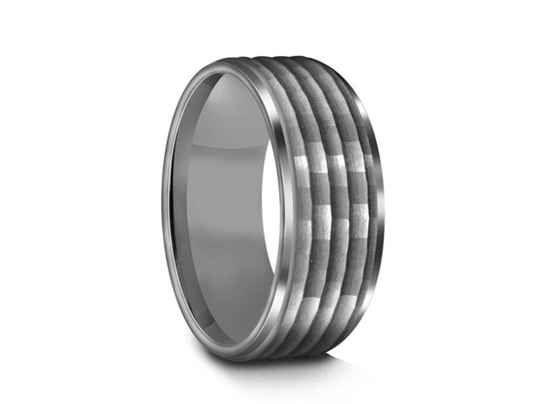 Hammered Polished Tungsten Wedding Band - Gray Gunmetal - Engagement Ring - Ridged Edges - Comfort Fit  8mm - Vantani Wedding Bands