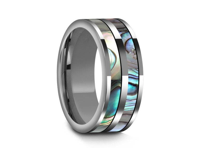 Abalone Shell Tungsten Carbide Wedding Band - Double Abalone Inlay Ring - Shell Ring - Engagement Band - Flat Shaped - Comfort Fit  8mm - Vantani Wedding Bands