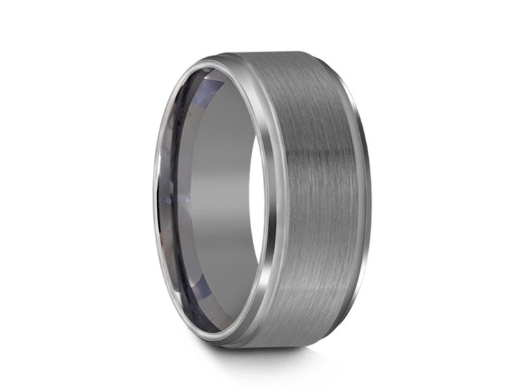8MM BRUSHED GRAY TUNGSTEN WEDDING BAND GROOVED AND GRAY INTERIOR - Vantani Wedding Bands
