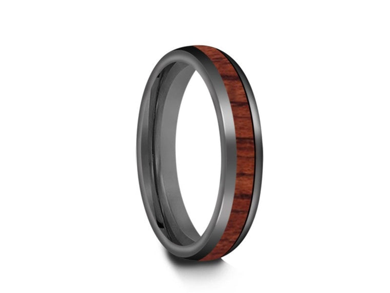 4MM HAWAIIAN KOA WOOD TUNGSTEN WEDDING BAND DOME AND GRAY INTERIOR - Vantani Wedding Bands