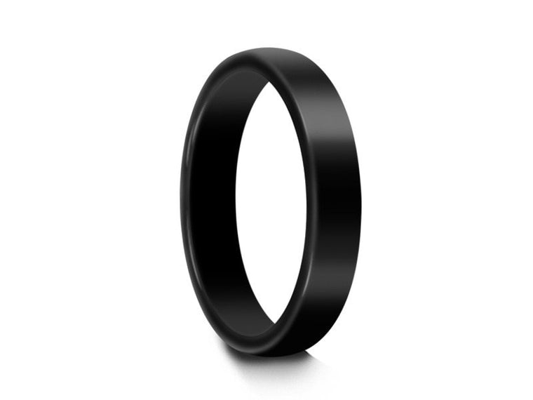 4MM HIGH POLISH BLACK TUNGSTEN WEDDING BAND DOME AND BLACK INTERIOR - Vantani Wedding Bands