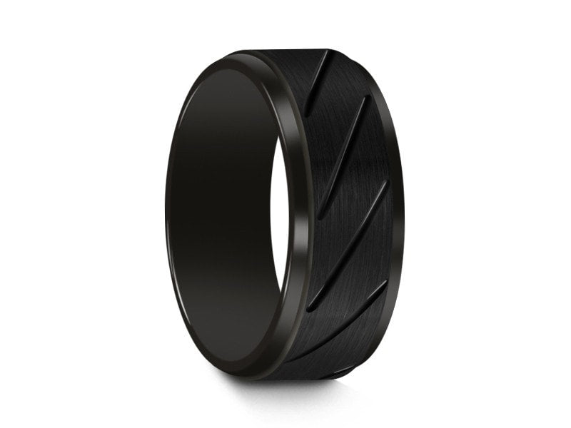 8MM BLACK TUNGSTEN WEDDING BAND RIDGED AND BLACK INTERIOR - Vantani Wedding Bands