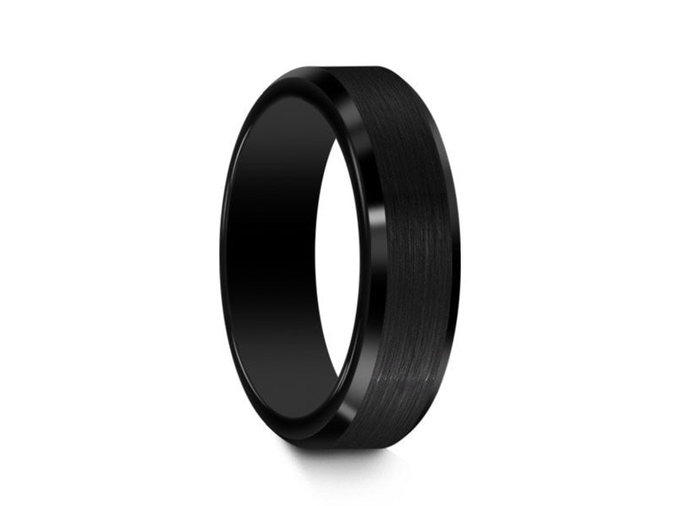 6MM BRUSHED BLACK TUNGSTEN WEDDING BAND BEVELED AND BLACK INTERIOR - Vantani Wedding Bands