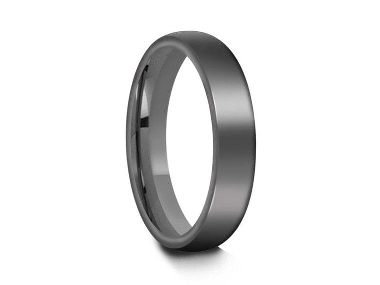 Tungsten Classic Wedding Band - High Polish - Gray Gunmetal - Engagement Ring - Dome Shaped - Comfort Fit  4mm - Vantani Wedding Bands