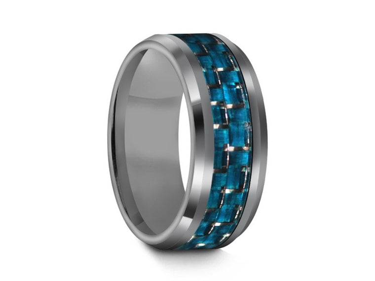 8MM TUNGSTEN WEDDING BAND BEVELED AND BLUE CARBON FIBER INLAY - Vantani Wedding Bands