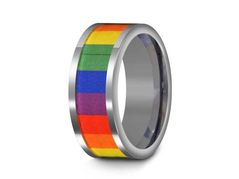 8MM RAINBOW TUNGSTEN WEDDING BAND FLAT AND GRAY INTERIOR - Vantani Wedding Bands