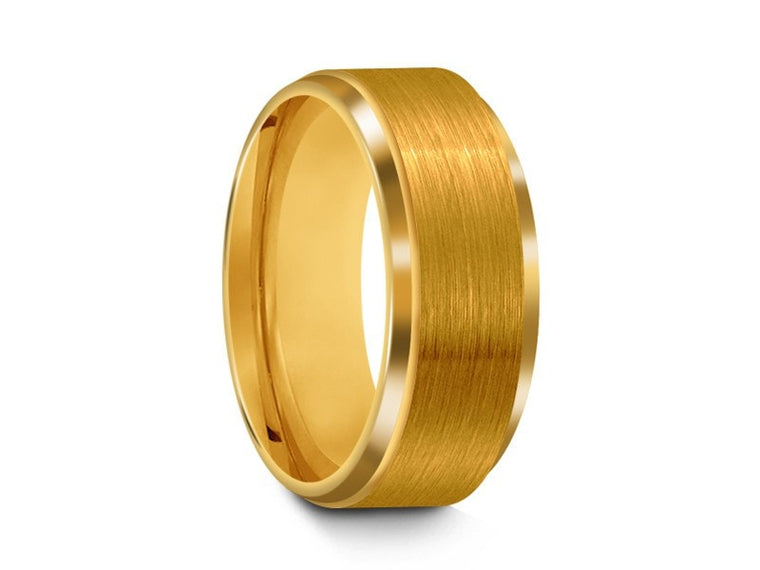 Brushed Yellow Tungsten Wedding Band - Yellow Gold Plated - Engagement Ring - Ridged Edges - Comfort Fit  8mm - Vantani Wedding Bands