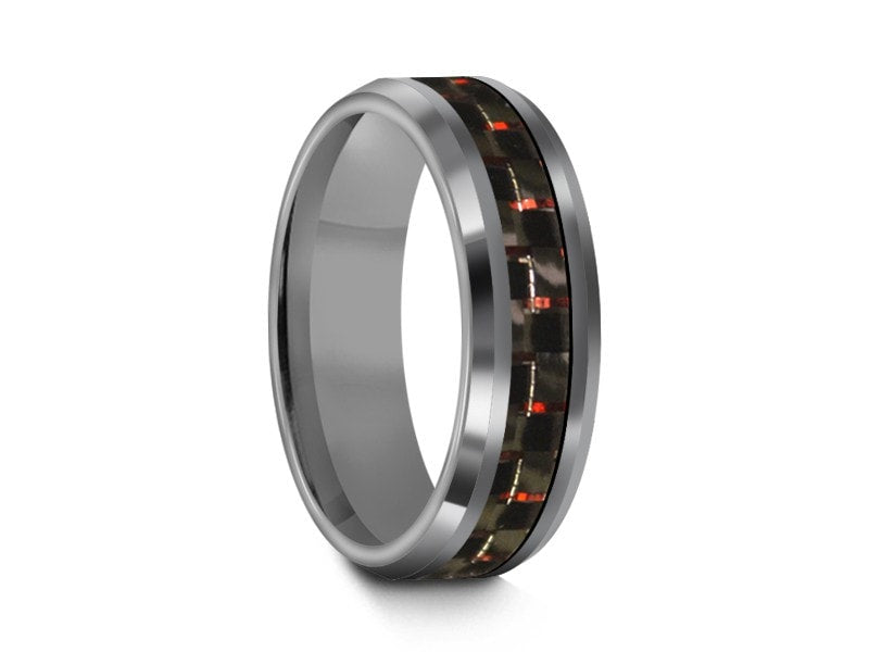 6MM CARBON FIBER TUNGSTEN WEDDING BAND BEVELED AND GRAY INTERIOR - Vantani Wedding Bands