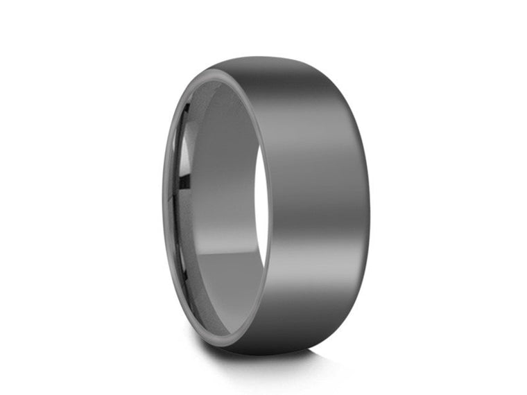 Tungsten Classic Wedding Band - High Polish - Gray Gunmetal - Engagement Ring - Dome Shaped - Comfort Fit  8mm - Vantani Wedding Bands