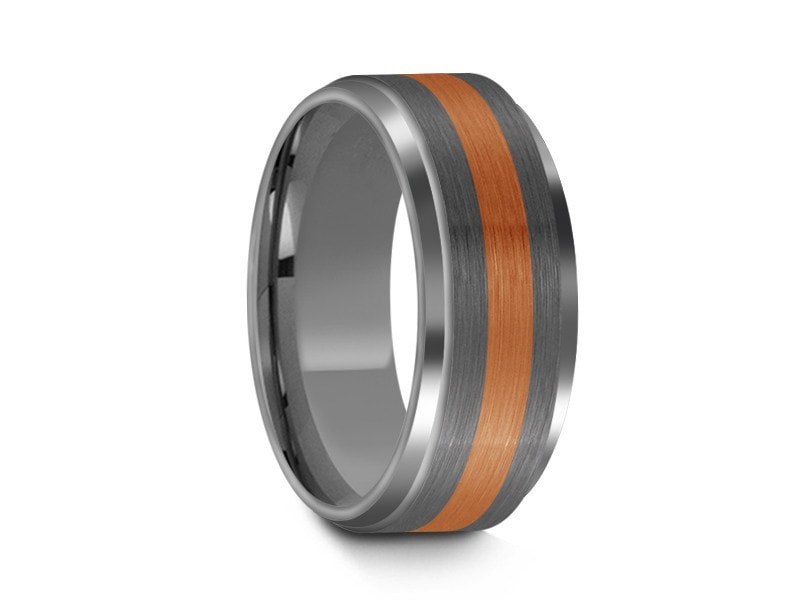 8MM BRUSHED GRAY TUNGSTEN WEDDING BAND ROSE GOLD CENTER AND GRAY INTERIOR - Vantani Wedding Bands