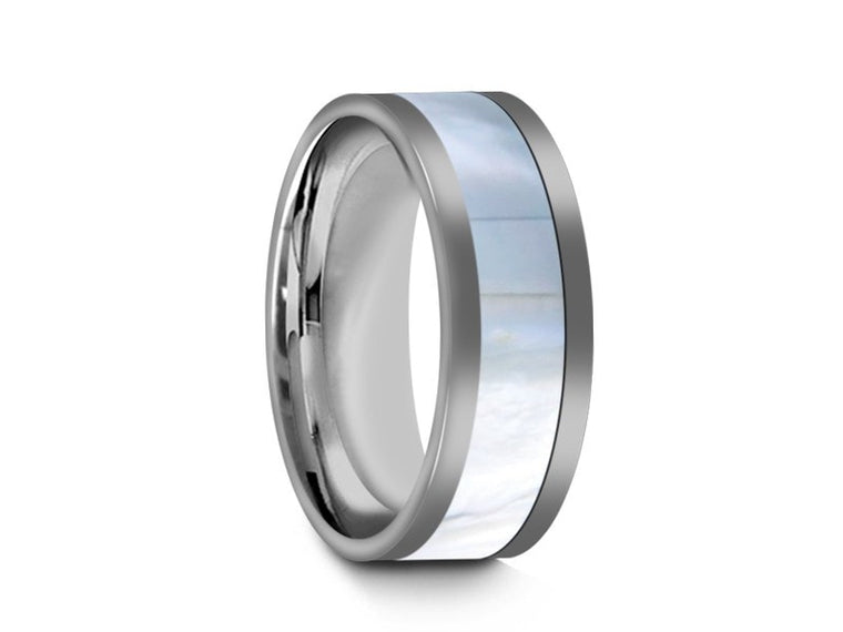 8MM MOTHER OF PEARL TUNGSTEN WEDDING BAND FLAT AND GRAY INTERIOR - Vantani Wedding Bands