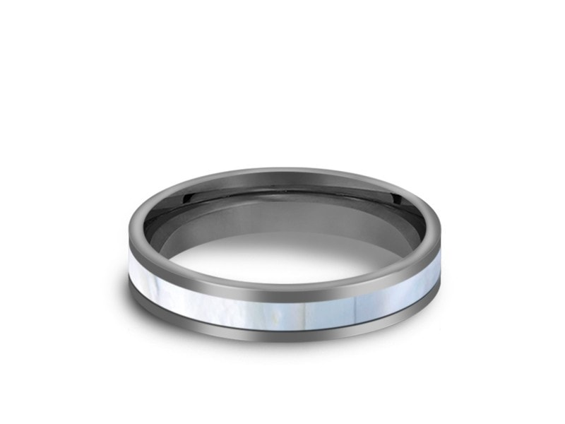 Mother of Pearl Inlay Tungsten Carbide Ring - Wedding Band - Engagement Ring - MOP Inlay - Flat Shaped - Comfort Fit  4mm - Vantani Wedding Bands