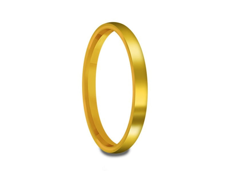 Tungsten Classic Wedding Band - High Polish - Yellow Gold Plated - Engagement Ring - Flat Shaped - Comfort Fit  2mm - Vantani Wedding Bands