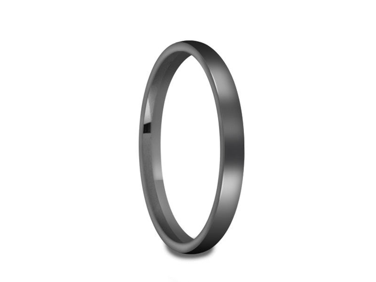 Tungsten Classic Wedding Band - High Polish -Gray Gunmetal - Engagement Ring - Dome Shaped - Comfort Fit  2mm - Vantani Wedding Bands