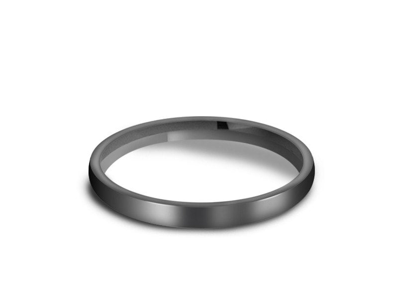 2MM HIGH POLISH GRAY TUNGSTEN WEDDING BAND DOME AND GRAY INTERIOR - Vantani Wedding Bands