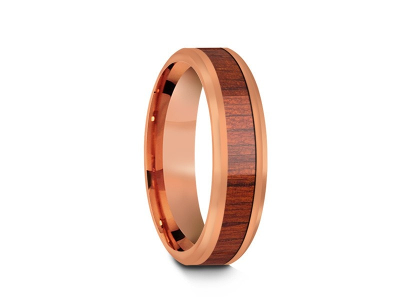 6MM HAWAIIAN KOA WOOD TUNGSTEN WEDDING BAND BEVELED AND ROSE GOLD INTERIOR - Vantani Wedding Bands