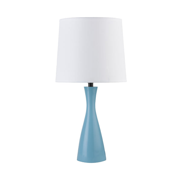 Blue finish with White Linen shade