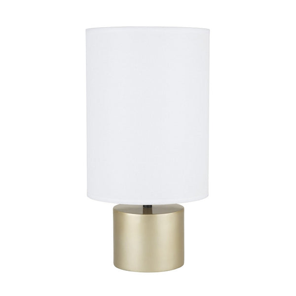 Gold finish with White Linen shade