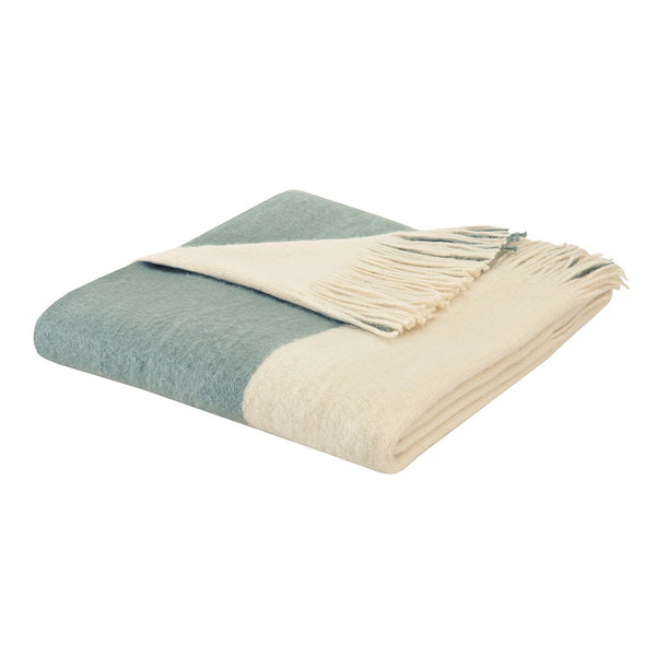 Stockholm  Acrylic Color Block Faux Cashmere Throw, Aqua