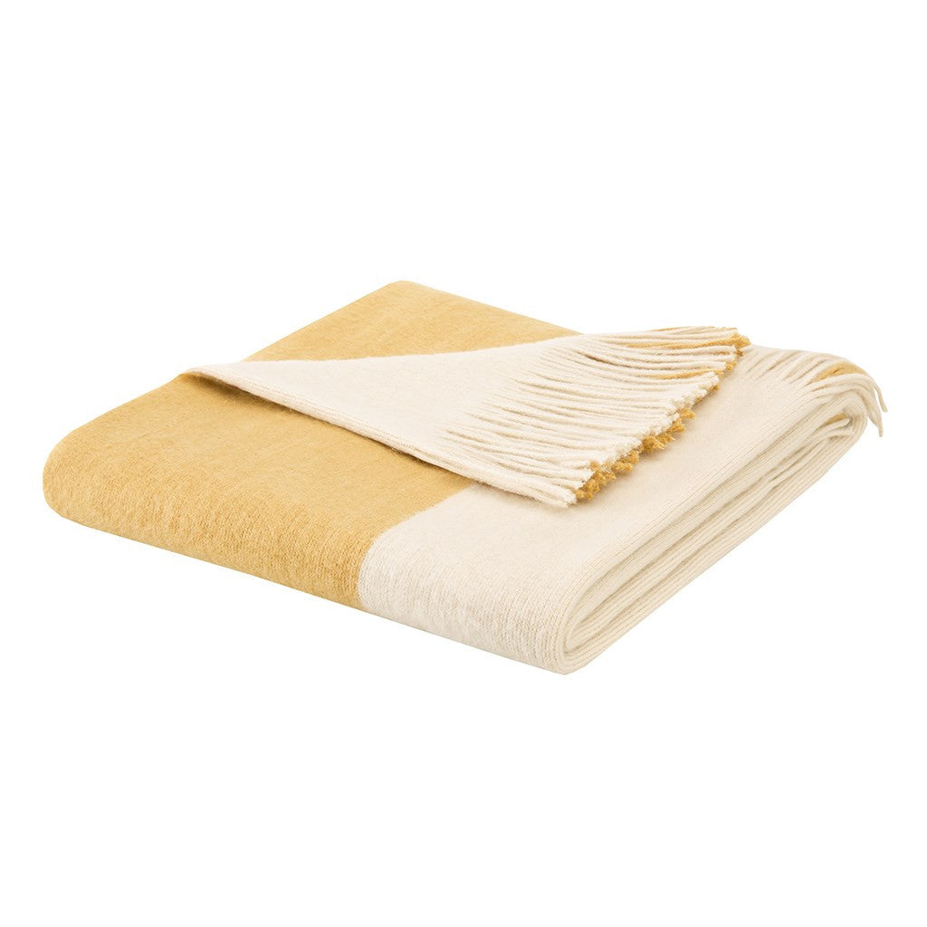 Stockholm  Acrylic Color Block Faux Cashmere Throw, Yellow