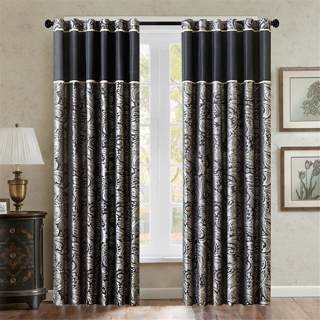 Madison Park Aubrey Jacquard  Window Panel, Black