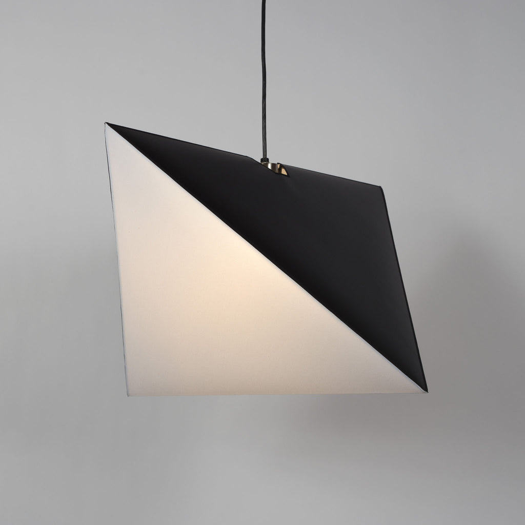 Metallic Lined Black finish with White Linen shade