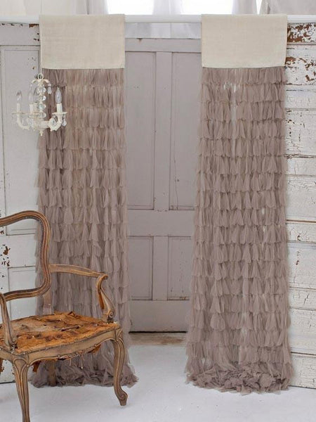 Couture Dreams Chichi Petal With Jute Header Window Curtain, Natural