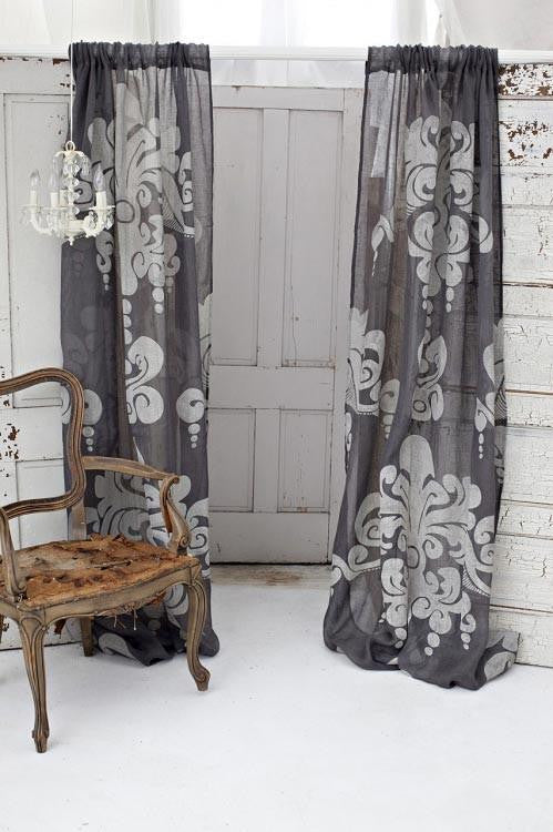Couture Dreams Enchantique Jute Window Curtain, Slate Gray