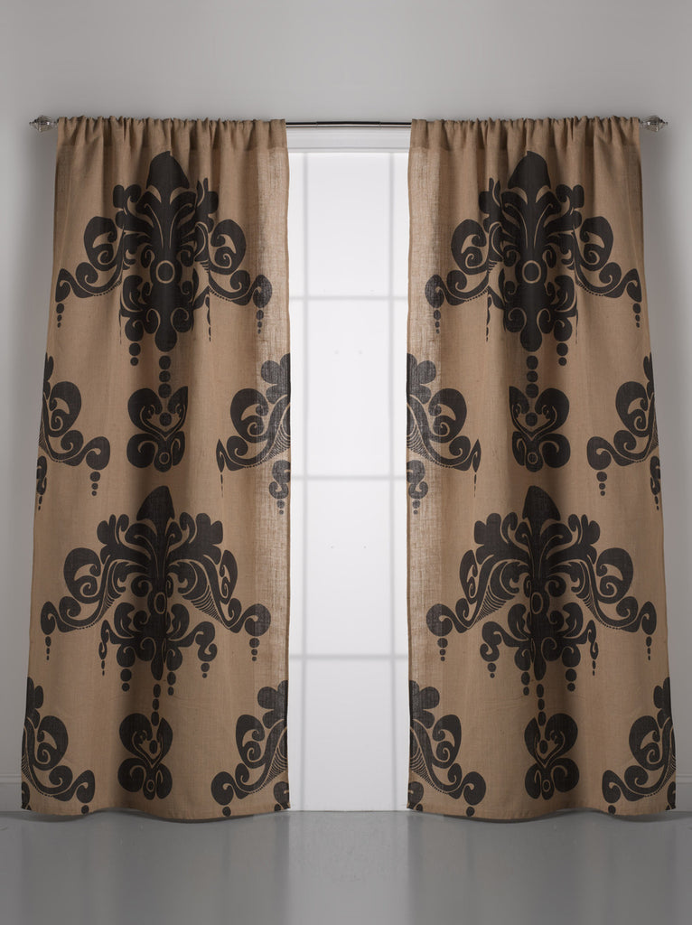 Enchantique Jute Window Curtain, Slate Grey - Home Decor | Couture Dreams