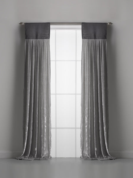 Couture Dreams Luscious Silk Velvet With Jute Header Window Curtain, Soft Earth