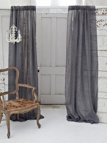 Couture Dreams Solid Linen Gauze Window Curtain, Salte Gray