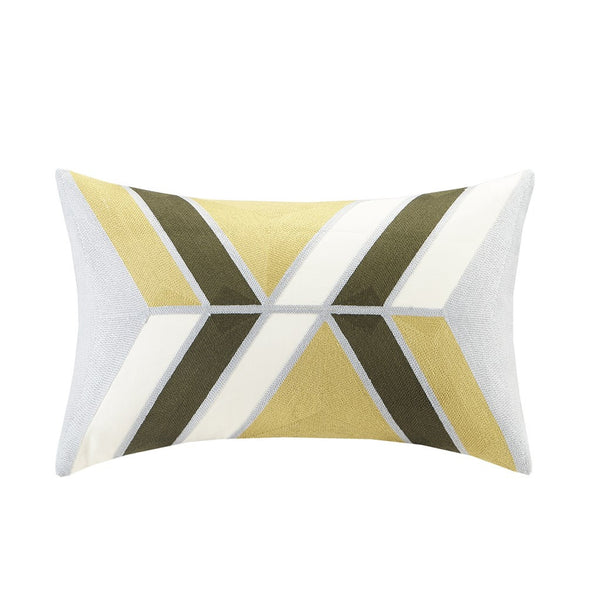 Aero Embroidered Abstract Oblong Pillow, Natural