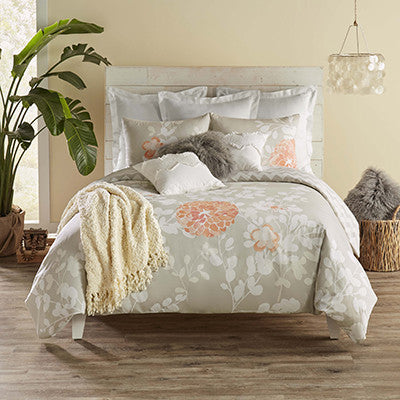 Kaleah Duvet Set, Grey/peach