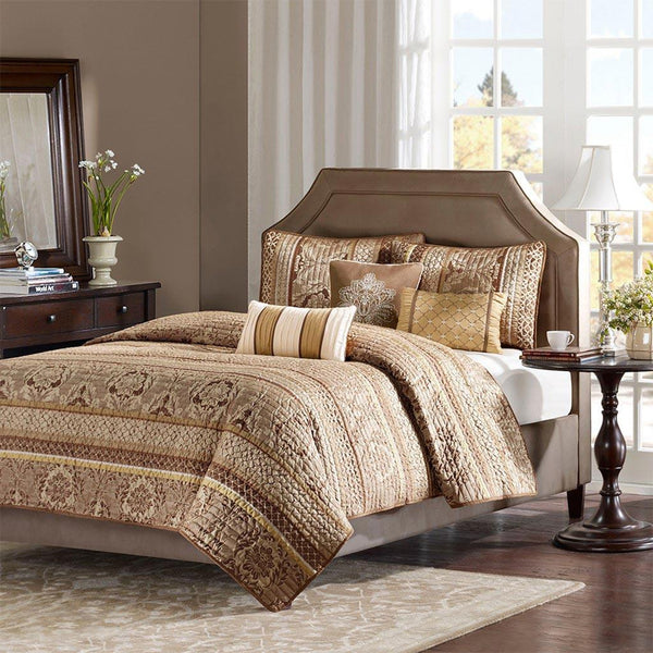 Bellagio Polyester Jacquard Coverlet 6 Pieces Set - Bedding | Madison Park