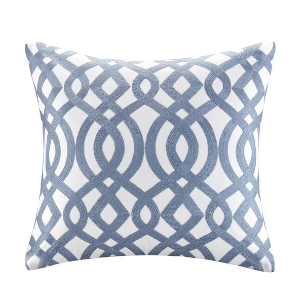 Trellis Cotton Embroidered Square Pillow - Madison Park Signature