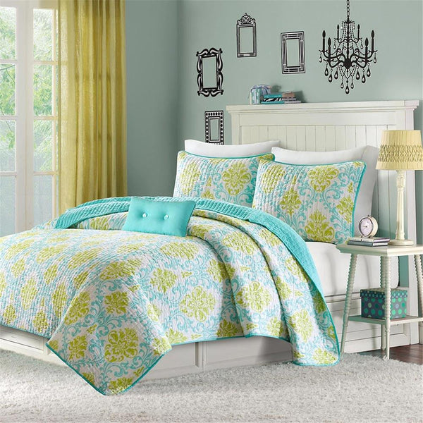 Katelyn Polyester Peach Skin Printed 3 Piece Quilt Set - Bedding | Mi Zone